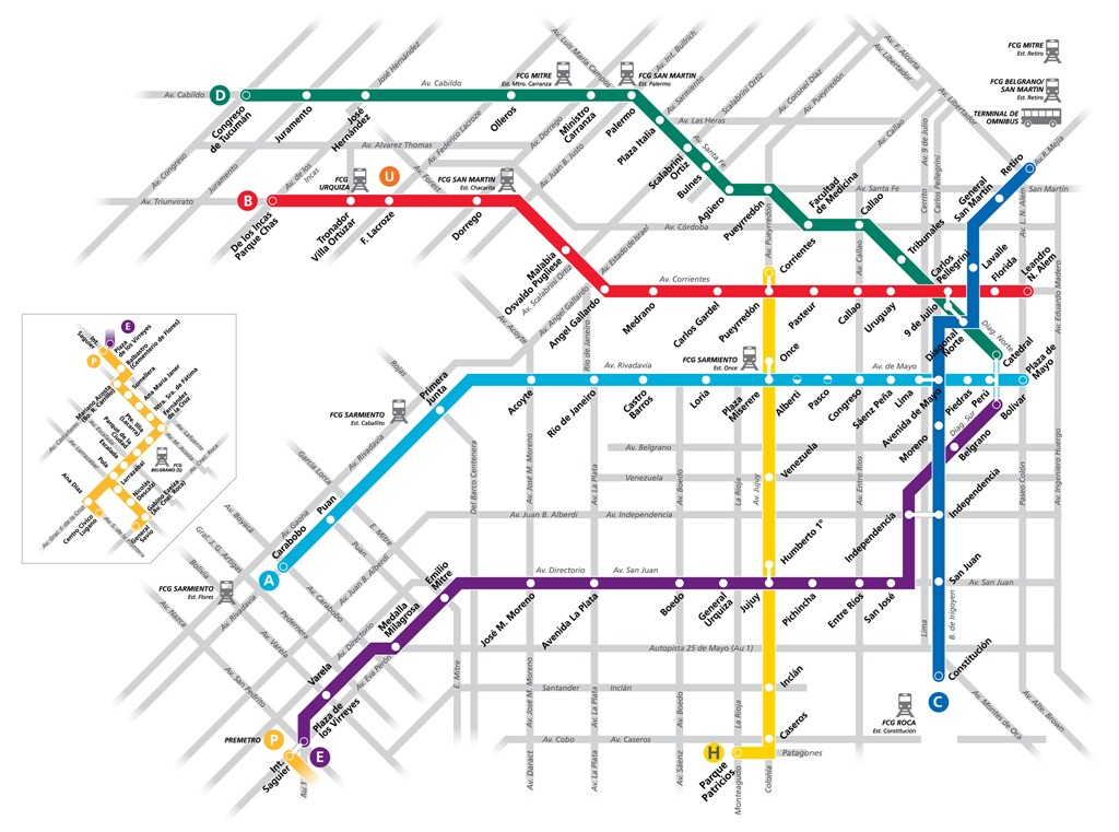 Argentina Subway Map.Getting Around Buenos Aires Subway Bus Taxi Calazan Com