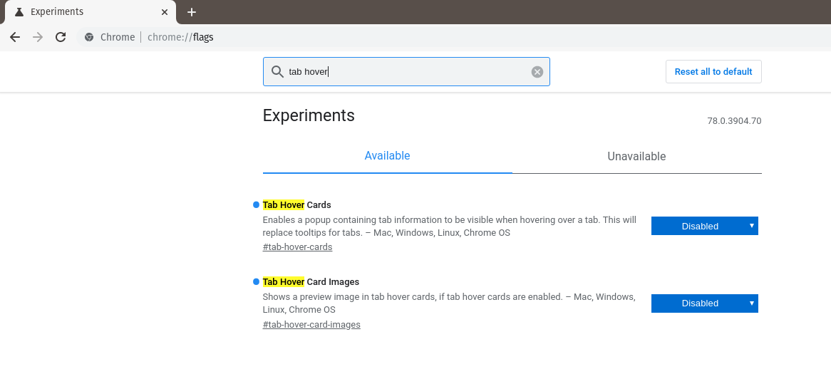 Disable Tab Hover Cards in Chrome and Brave Browsers